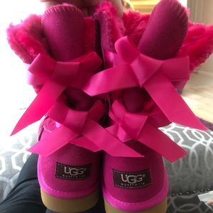 Shoes - Pink Boots with Bows on the Back